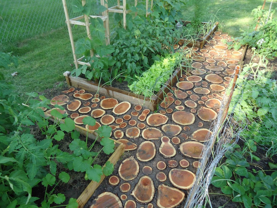 wood rounds walkway